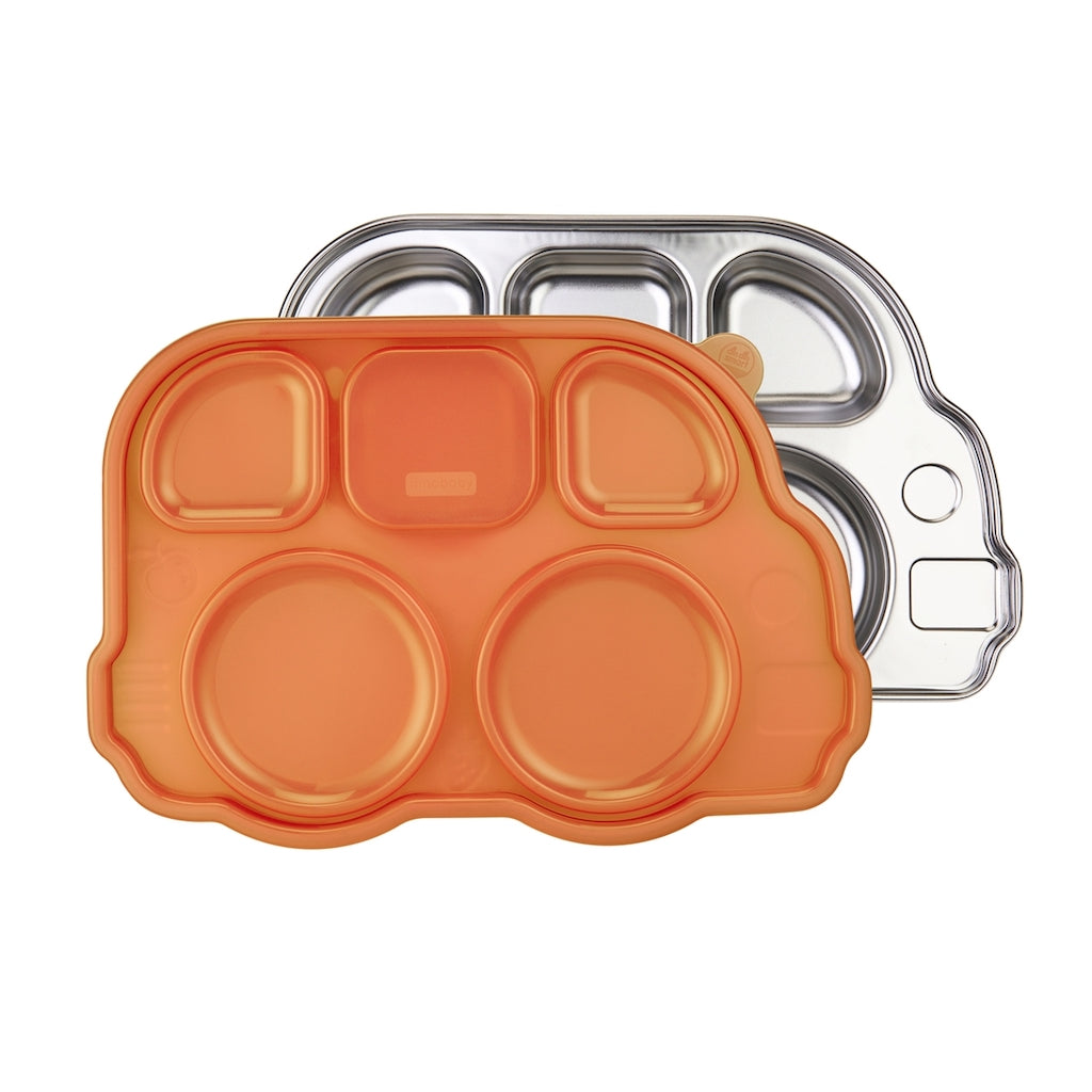 Innobaby - Din Din Smart Divided Stainless Platter with Lid - Orange