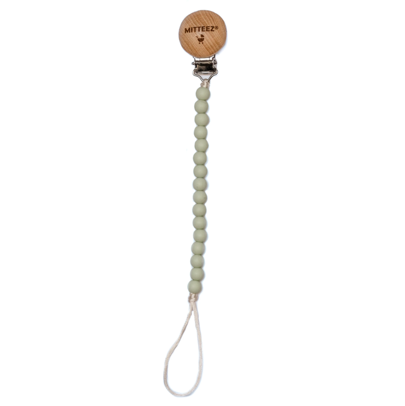 Miteez – Mini Strand Pacifier Holder/Clip - Pistachio