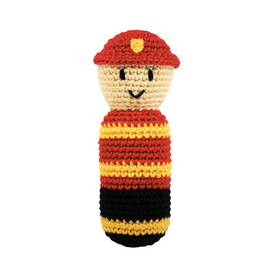 Dandelion - Pretend Play - Handcrafted Crochet Rattle - Fireman - Along Came Baby, Ltd