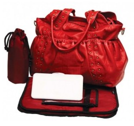 OiOi - Studded Washed Faux Leather Red Ruched Tote - www.alongcamebaby.ca