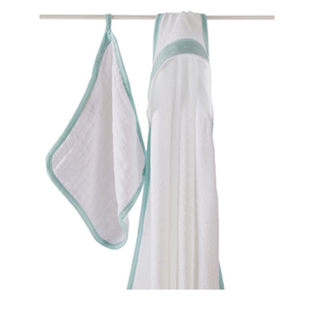 "aden + anais - ""Bubble"" Hooded Towel and Washcloth - La Mer - Along Came Baby, Ltd - 1"