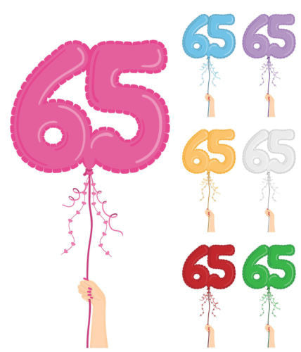 24 X 65TH HAPPY BIRTHDAY BALLOONS MIXED COLOURS EDIBLE CUPCAKE TOPPERS NM4