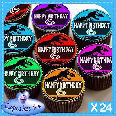 24 X 6TH BIRTHDAY JURASSIC PARK CUPCAKE TOPPERS EDIBLE CAKE RICE PAPER CC0353
