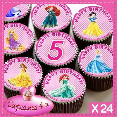 24 X DISNEY PRINCESS 5TH BIRTHDAY CUPCAKE TOPPERS EDIBLE CAKE RICE PAPER CC0339