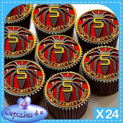 24 X 5TH BIRTHDAY SPIDERMAN CUPCAKE TOPPERS EDIBLE CAKE RICE PAPER CC0346