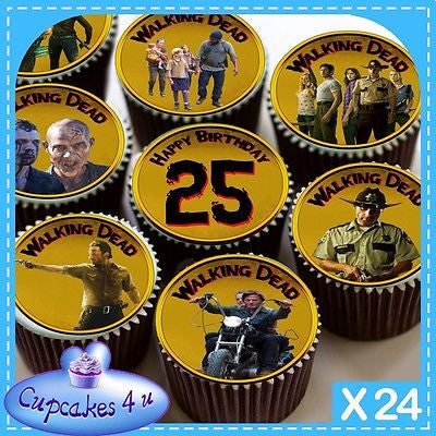 24 X WALKING DEAD 25TH BIRTHDAY CUPCAKE TOPPERS EDIBLE CAKE RICE PAPER CC0333