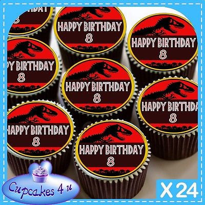 24 X JURASSIC PARK RED GOLD 8TH CUPCAKE TOPPERS EDIBLE RICE PAPER CC0412