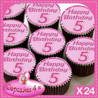 24 X 5TH BIRTHDAY PINK CUPCAKE TOPPERS EDIBLE CAKE RICE PAPER CC0262 Cannellio Cakes