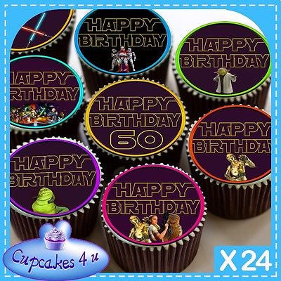 24 X 60TH HAPPY BIRTHDAY STAR WARS CUPCAKE TOPPERS EDIBLE CAKE RICE PAPER CC0358