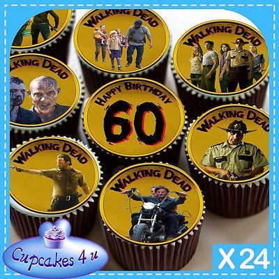 24 X WALKING DEAD 60TH BIRTHDAY CUPCAKE TOPPERS EDIBLE CAKE RICE PAPER CC0332