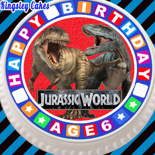 LARGE CAKE TOPPER 75 INCH EDIBLE ICING JURASSIC PARK 6TH BIRTHDAY KCL01002