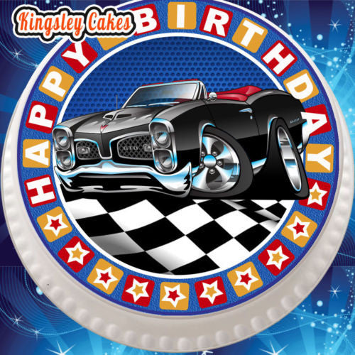 Edible Icing Cake Topper 7 5 Inch Happy Birthday Muscle Car Blue