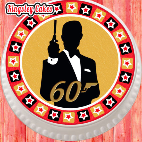 LARGE CAKE TOPPER 75 INCH EDIBLE ICING JAMES BOND 60TH BIRTHDAY KC0146707