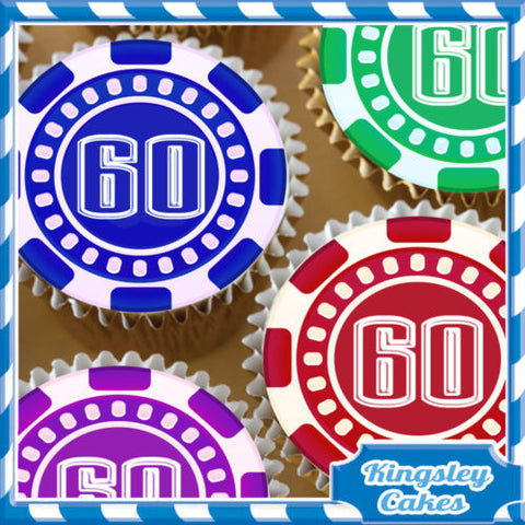 24 X CASINO POKER CHIP 60TH BIRTHDAY EDIBLE CUPCAKE TOPPERS RICE PAPER KC4046