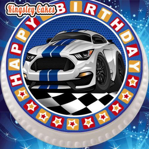 Edible Icing Cake Topper 7 5 Inch Happy Birthday Muscle Car White