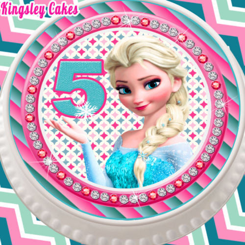 ROUND 75 INCH EDIBLE ICING CAKE TOPPER FROZEN ELSA AGE 5 5TH BIRTHDAY KCL0635