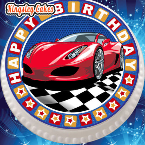 Edible Icing Cake Topper 7 5 Inch Happy Birthday Sports Car Red