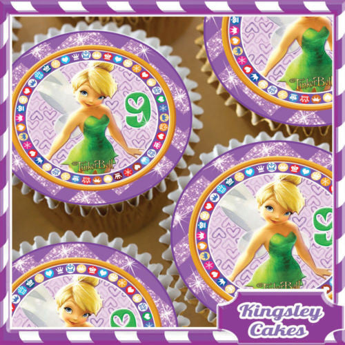 24 X TINKERBELL 9TH BIRTHDAY EDIBLE CUPCAKE TOPPERS RICE PAPER KC0320