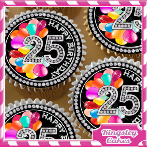 24 X BLACK DIAMOND 25TH BIRTHDAY EDIBLE CUPCAKE TOPPERS RICE PAPER KD025
