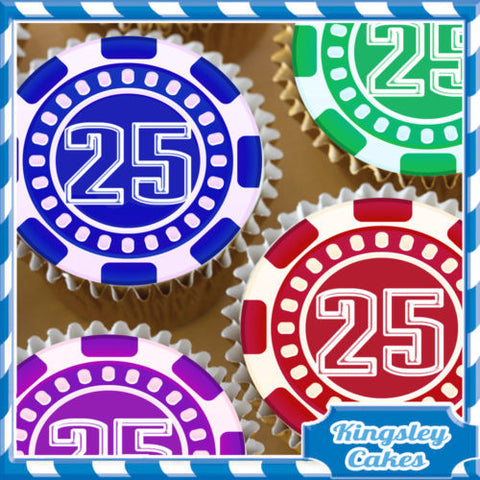 24 X CASINO POKER CHIP 25TH BIRTHDAY EDIBLE CUPCAKE TOPPERS RICE PAPER KC4042
