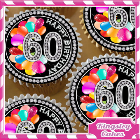 24 X BLACK DIAMOND 60TH BIRTHDAY EDIBLE CUPCAKE TOPPERS RICE PAPER KD060