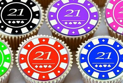 24 X 21ST BIRTHDAY POKER CHIPS EDIBLE CUPCAKE TOPPERS PREMIUM RICE PAPER 7182