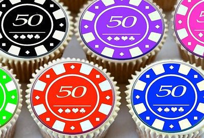 24 X 50TH BIRTHDAY POKER CHIPS EDIBLE CUPCAKE TOPPERS PREMIUM RICE PAPER 7185