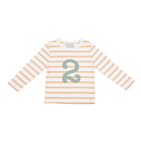 Biscuit & White Striped Number 2 T Shirt