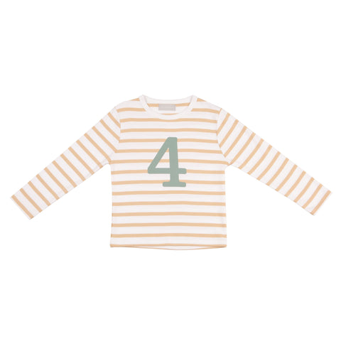 Biscuit & White Striped Number 4 T Shirt