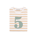 Biscuit & White Striped Number 5 T Shirt