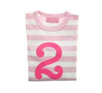 Pale Pink & White Striped Number 2 T Shirt