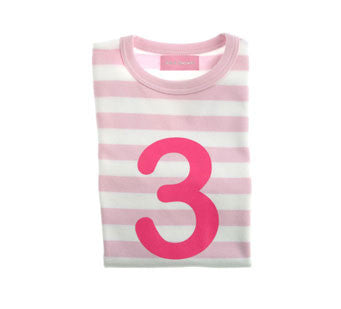 Pale Pink & White Striped Number 3 T Shirt