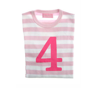 Pale Pink & White Striped Number 4 T Shirt