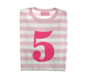 Pale Pink & White Striped Number 5 T Shirt
