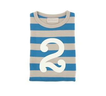 Sailor Blue & Sand Striped Number 2 T Shirt