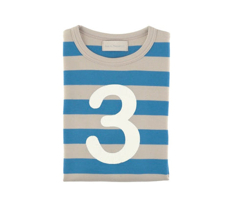 Sailor Blue & Sand Striped Number 3 T Shirt