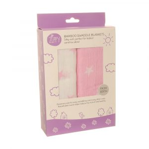 Bamboo Swaddle Blankets 2 pack Pink/White