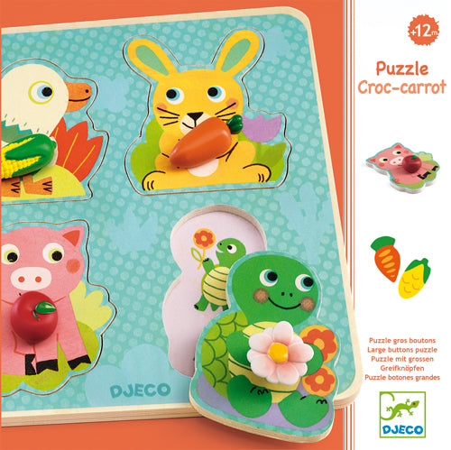 Large Buttons Puzzle - Croc Carrot
