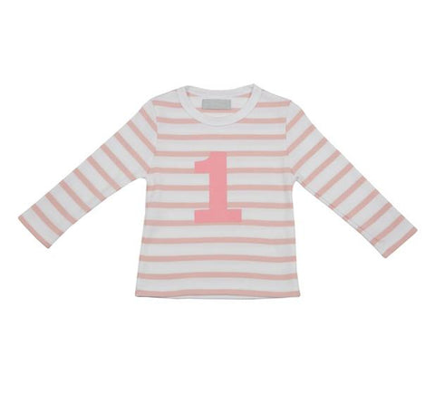Dusty Pink & White Striped Number 1 T Shirt