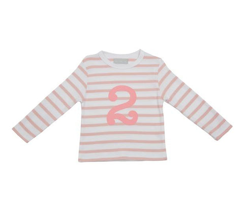 Dusty Pink & White Striped Number 2 T Shirt