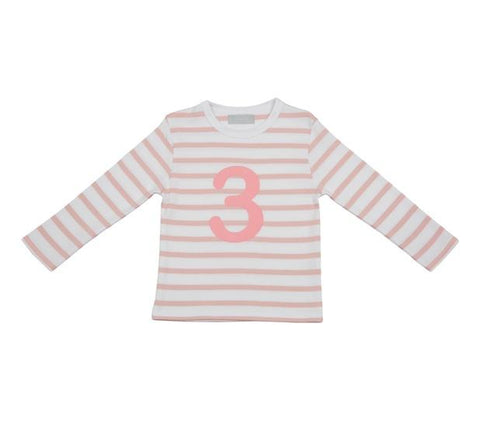 Dusty Pink & White Striped Number 3 T Shirt
