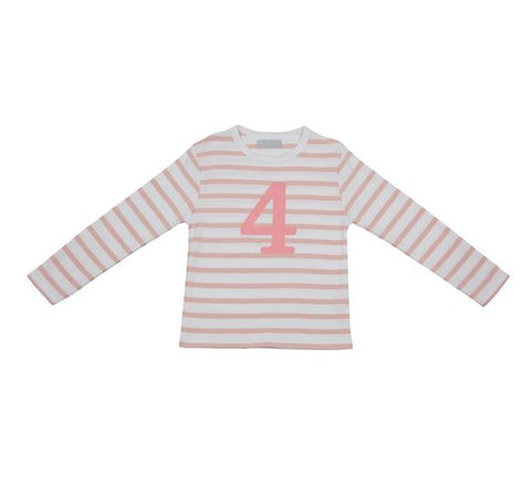 Dusty Pink & White Striped Number 4 T Shirt