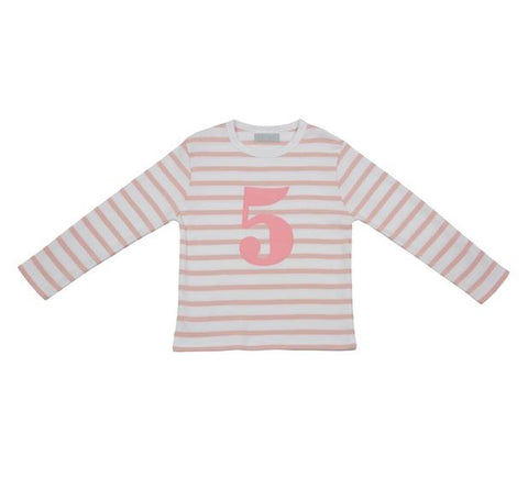 Dusty Pink & White Striped Number 5 T Shirt