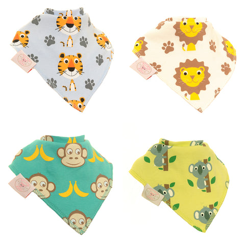 Bandana Dribble Bib Safari by Stripey Cats 4pk
