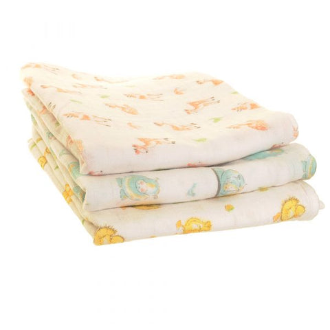 Cuddly Animals Muslin Squares 3pk