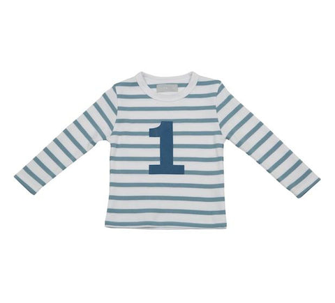 Ocean Blue & White Striped Number 1 T Shirt