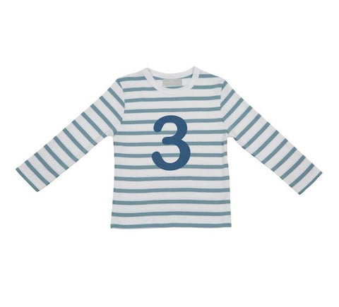 Ocean Blue & White Striped Number 3 T Shirt