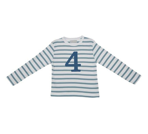Ocean Blue & White Striped Number 4 T Shirt