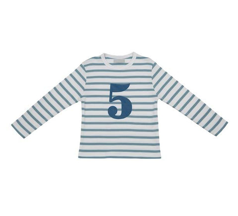 Ocean Blue & White Striped Number 5 T Shirt