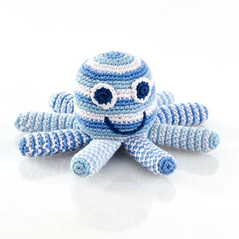 Pale Blue Crochet Octopus Rattle